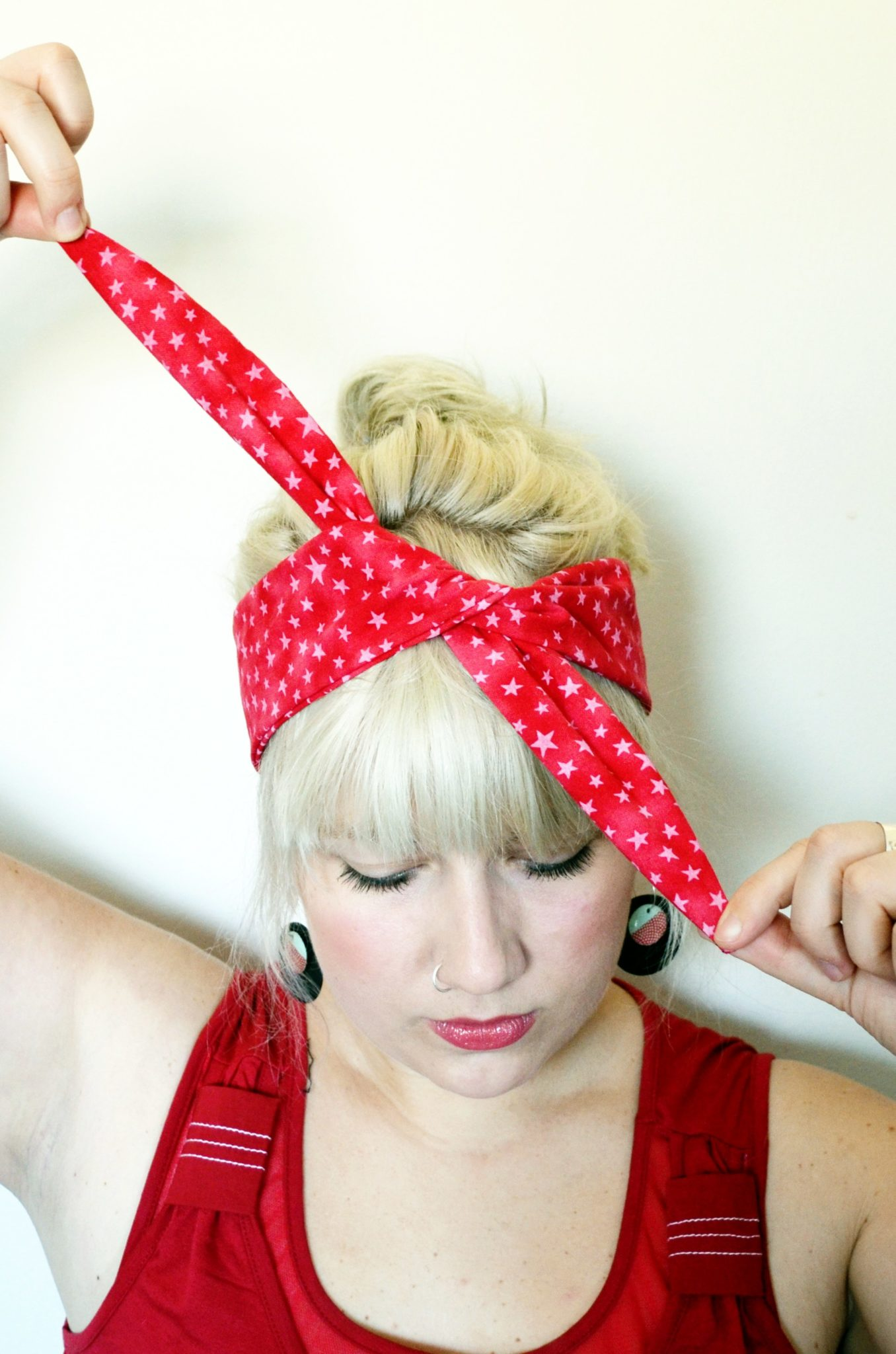 How to tie a rockabilly headband maple and oak designs now pull on both ends to tie a simple knot keep the headband flat ccuart Gallery