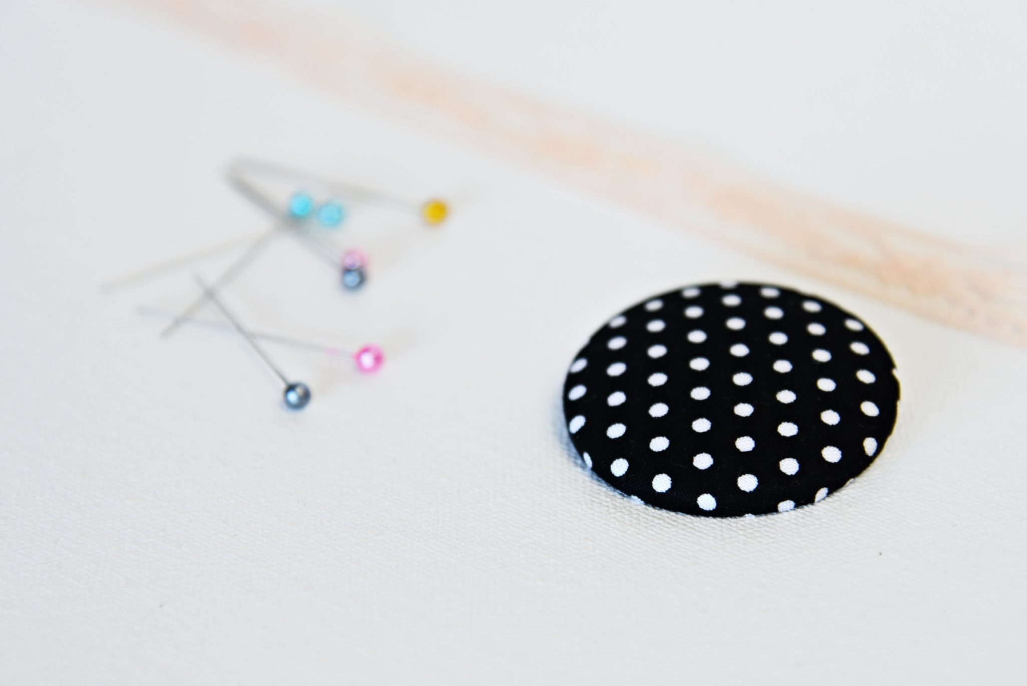 black and white polka dot brooch