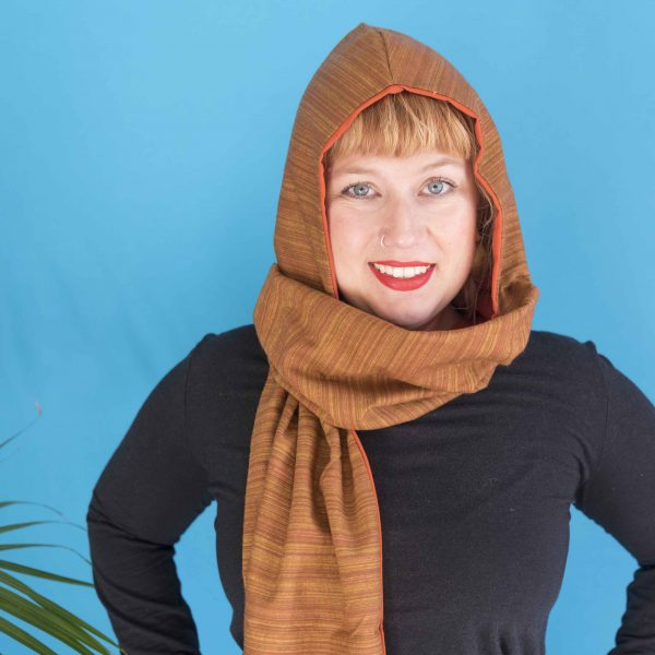 orange hood scarf