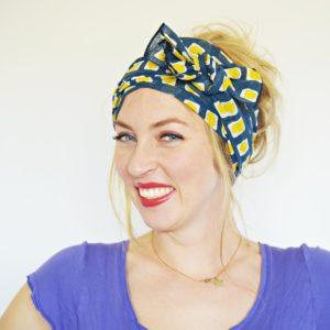 navy blue yellow head scarf 5