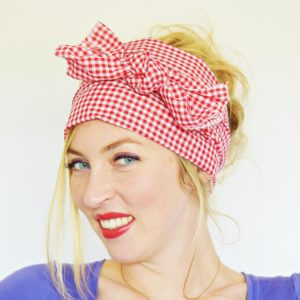 red and white gingham head scarf 6