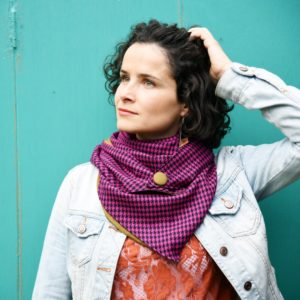 purple and black houndstooth Triangle Scarf - Maple And Oak Designs 3