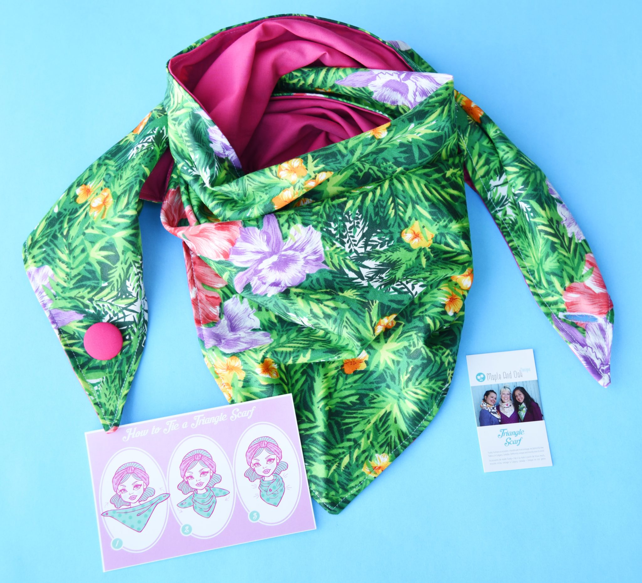 Triangle Scarves - Green jungle print. Pink, yellow, orange ...