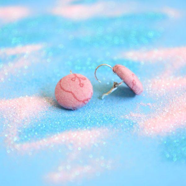 earrings dangly, dusty pink, vintage fabric 2