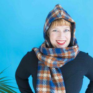 blue and brown vintage plaid scarf