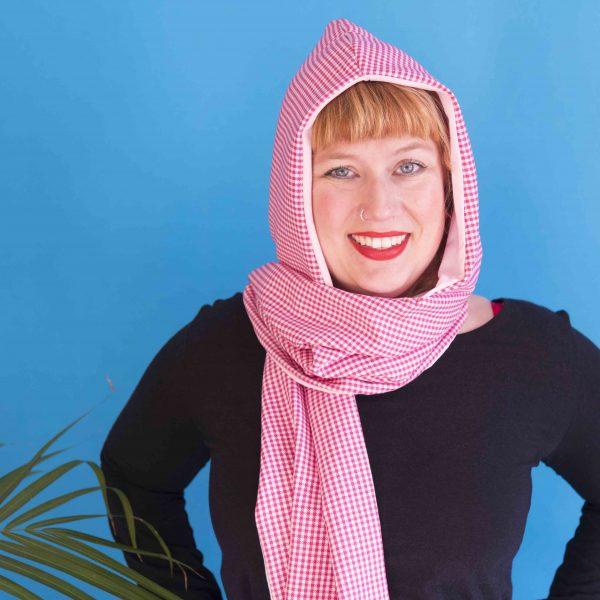 pink gingham hood scarf