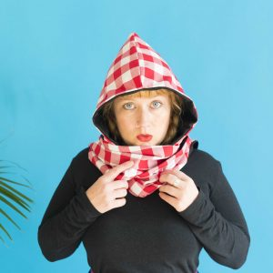 big red and white gingham scarf
