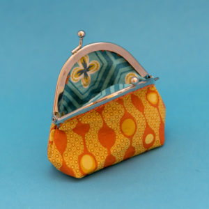 funky orange bubbles purse