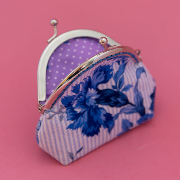blue florals and stripes. coin purse.